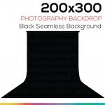 ฺBlack 200 x 300 Photography Backdrop ผ้าฉากหลังสีดำ ตัดต่อ ถ่ายวีดีโอได้