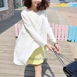 เสื้อคลุมท้องแขนยาว 2ชิ้นเย็บติดกัน  สีขาว/เหลือง ผ้าชีฟองบางเบาใส่สบายค่ะ(เป็นเสื้อนะคะ)