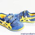 รองเท้าผ้าใบเด็ก Onitsuka Tiger สีน้ำเงิน เหลือง ตัดหลังขาว (25-35)