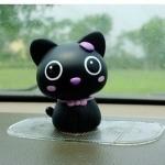 แมวน้อยน่ารัก หัวดุ๊กดิ๊กได้ สีดำ ขนาด 7x9CM (วัสดุไวนิล ไม่แตกหักเมื่อหล่น)