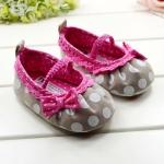 รองเท้าเด็กโบว์ชมพูลายจุดสำหรับวัยหัดเดิน [ขายส่งโหลล่ะ 1200.- คละรวมกับราคาส่งที่เท่ากันได้]