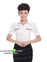 เสื้อเชิ้ตผู้หญิงสีขาวแขนสั้นคอระบาย