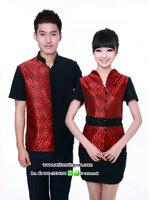 เสื้อพนักงานต้อนรับลายไทยสีแดง
