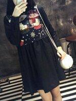 เสื้อคลุมท้องแฟชั่นสีดำ +++ เสื้อกั๊กสีดำลายด้านนอก +++ ผ้าเชิ้ตคอปกแขนยาว คอลตอลเนื้อดี น่ารักมากๆค่ะ