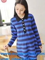 เสื้อยืดคลุมท้องแฟชั่นคอปกแขนยาว ลายริ้ว น่ารักค่ะ ใส่เก๋ๆ สไตย์เกาหลี ใส่คู่เลกกิ้งน่ารักค่ะผ้าเนื้อดีค่ะ