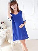 เสื้อคลุมท้องแฟชั่น สีน้ำเงินแขนสีขาว ผ้าซีฟอง น่ารักค่ะ