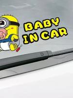 สติ๊กเกอร์ติดรถยนต์ 19x10 CM Baby in Car minions