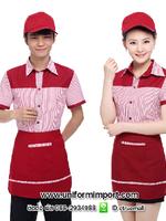 ชุดพนักงานเสริฟสีแดง/ส้ม/ฟ้า เสื้อพนักงานร้านอาหาร เสื้อพนักงานต้อนรับ