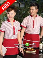 เสื้อพนักงานต้อนรับริ้วสีแดง/สีม่วง/สีน้ำตาล เสื้อพนักงานเสริฟ เสื้อพนักงานโรงแรม