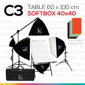 C3 โต๊ะถ่ายภาพสินค้าพับได้ 60x100 ซม. + SOFTBOX 4040