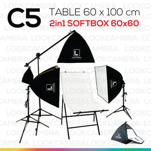 C5 โต๊ะถ่ายภาพสินค้าพับได้ 60x100 ซม. + SOFTBOX 6060