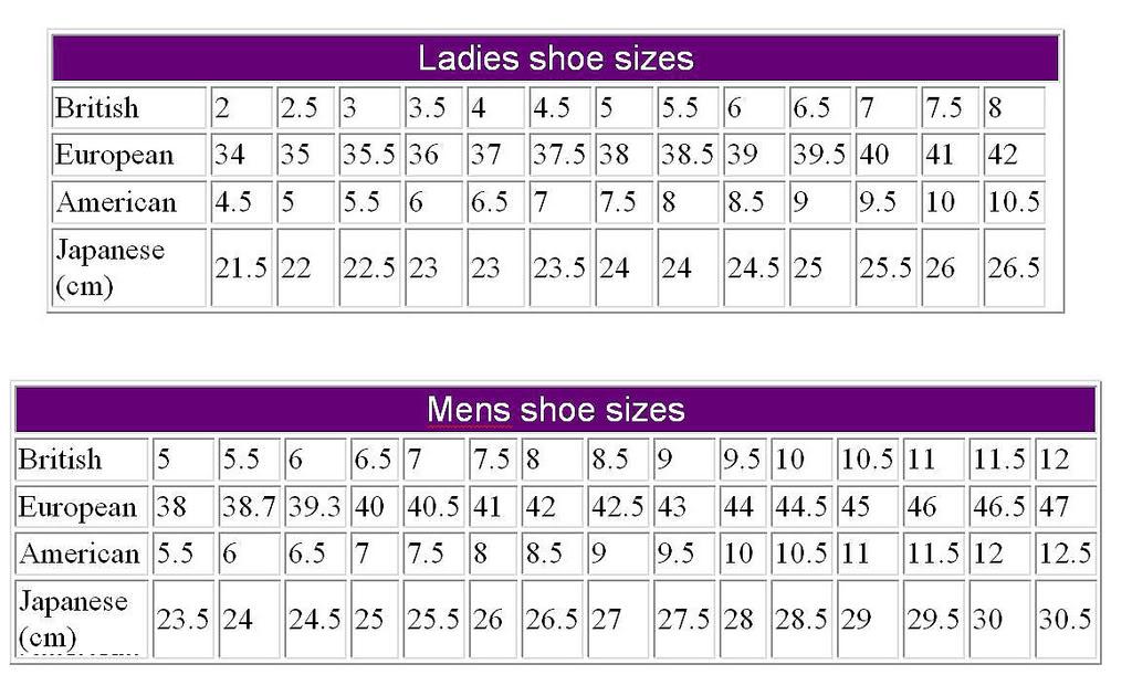 Canada To Uk Shoe Sizes