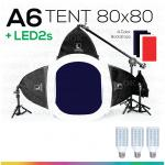 A6 TENT 80x80 + LED2s พร้อมหลอดไฟ ชุดไฟสตูดิโอแสงนุ่มแบบโปร