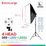 S69 - L210 + LED3s โคมไฟรองรับหลอดไฟสูงสุด 4 หลอด ขนาด 60x90 ซม