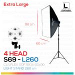 S69 - L260 โคมไฟรองรับหลอดไฟสูงสุด 4 หลอด ขนาด 60x90 ซม