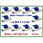 "Ball valve plastic union male thread 1/4"" MIP & tube 1/4"" OD แพ๊ค 10 ชิ้น"