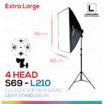 S69 - L210 โคมไฟรองรับหลอดไฟสูงสุด 4 หลอด ขนาด 60x90 ซม