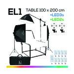 EL1+ LED2s +LED3s TABLE 100x200 ชุดโต๊ะถ่ายภาพสินค้าปรับองศาพร้อมหลอดไฟ