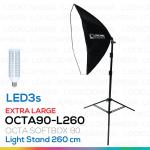 OCTA90 SOFTBOX L260 + LED3s ขนาด 90 ซม. พร้อมหลอดไฟ ชุดโคมไฟแปดเหลี่ยมถ่ายภาพสินค้า