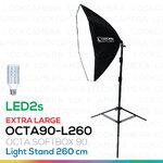 OCTA90 SOFTBOX L260 + LED2s ขนาด 90 ซม. พร้อมหลอดไฟ ชุดโคมไฟแปดเหลี่ยมถ่ายภาพสินค้า