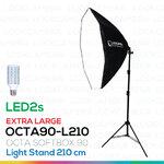 OCTA90 SOFTBOX L210 + LED2s ขนาด 90 ซม. พร้อมหลอดไฟ ชุดโคมไฟแปดเหลี่ยมถ่ายภาพสินค้า