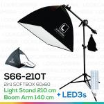 2in1 SOFTBOX 210T + LED3s พร้อมหลอดไฟ ซอฟบ๊อกซ์ถ่ายสินค้า ขนาด 60x60