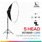 OCTA - L260 โคมไฟรองรับหลอดไฟสูงสุด 5 หลอด ขนาด 100 ซม