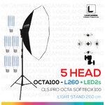 OCTA - L260 + LED2s โคมไฟรองรับหลอดไฟสูงสุด 5 หลอด ขนาด 100 ซม พร้อมหลอดไฟ