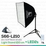 2in1 SOFTBOX L210 + LED2s พร้อมหลอดไฟ ซอฟบ๊อกซ์ถ่ายสินค้า ขนาด 60x60