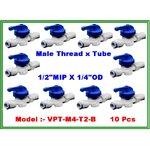 "Ball valve plastic union male thread 1/2"" MIP & tube 1/4"" OD แพ๊ค 10 ชิ้น"