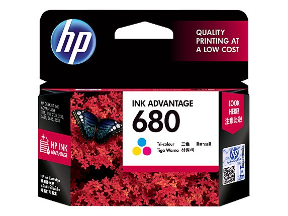 HP 680 ตลับหมึกอิงค์เจ็ท 3สี Tri-color Original Ink Advantage Cartridge (F6V26AA)