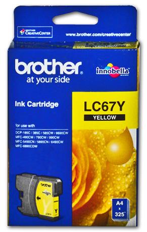 Brother LC-67Y ตลับหมึกอิงค์เจ็ท สีเหลือง Yellow Original Ink Cartridge (ขนาดมาตรฐาน)