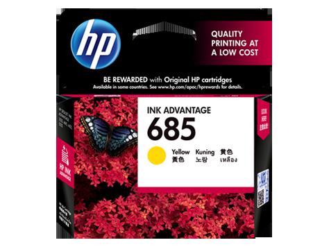 HP 685 ตลับหมึกอิงค์เจ็ท สีเหลือง Yellow Original Ink Advantage Cartridge (CZ124AA)