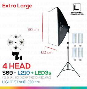 NEW 4 HEAD CLS SOFTBOX 60x90 - L210 ขนาด 60x90 ซม.ชุดไฟถ่ายภาพสินค้ากำลังสูง (NEW 2017 MODEL)