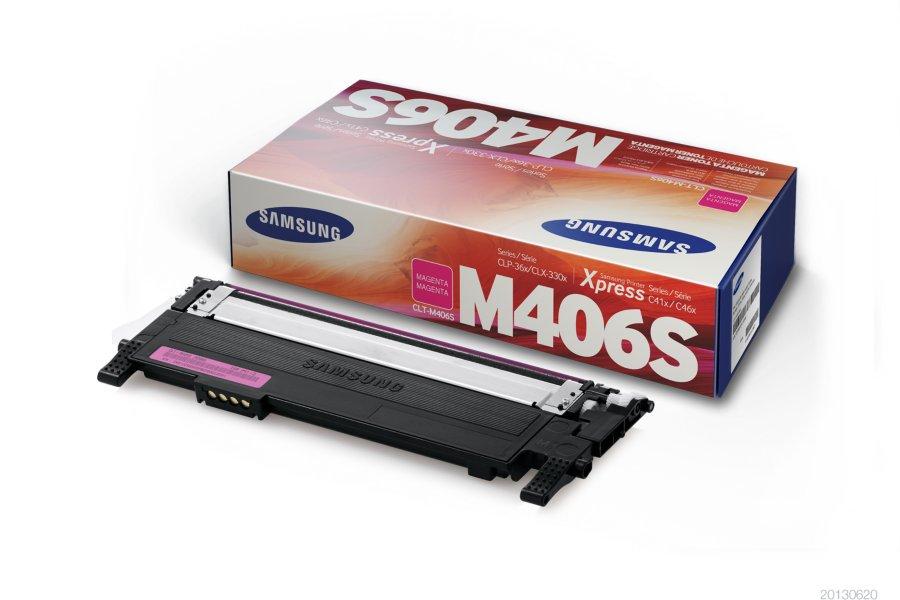 Samsung CLT-M406S ตลับหมึกโทนเนอร์ สีม่วงแดง ของแท้ Magenta Original Toner Cartridge (SU254A)