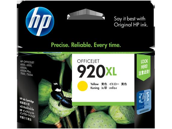 HP 920XL ตลับหมึกอิงค์เจ็ท สีเหลือง High Yield Yellow Original Ink Cartridge (CD974AA)