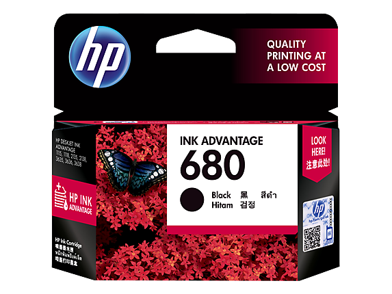 HP 680 ตลับหมึกอิงค์เจ็ท สีดำ Black Original Ink Advantage Cartridge (F6V27AA)