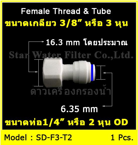 ข้อต่อตรง (3/8FIP x 1/4OD) Plastic สวมเร็ว Speed Fit