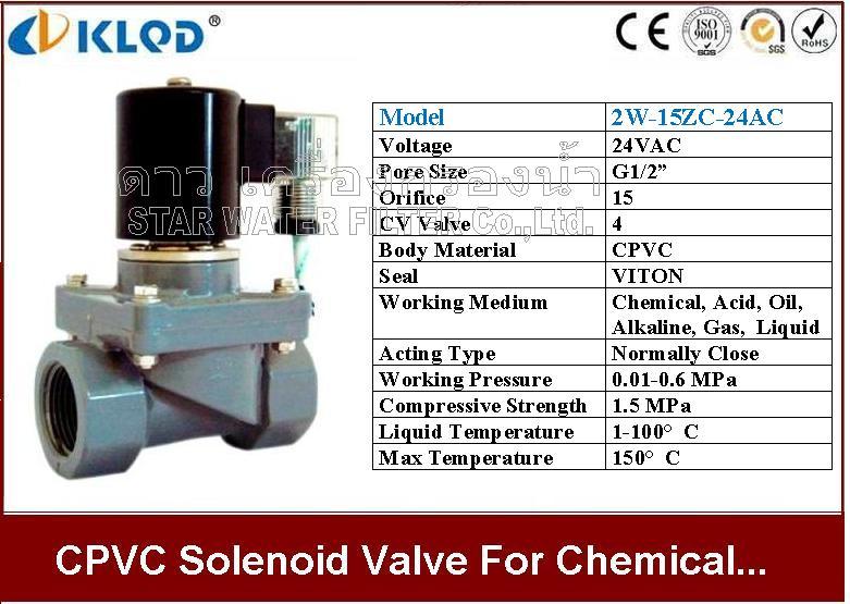 CPVC Solenoid valve ทนกรด-ด่าง และ สารเคมี 1/2 นิ้ว 24VAC KLOD