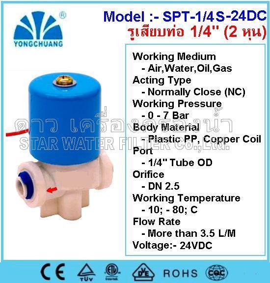 """Solenoid Valve Plastic 1/4""""(2 หุน) 24 VDC (NC) Quick Connect"""