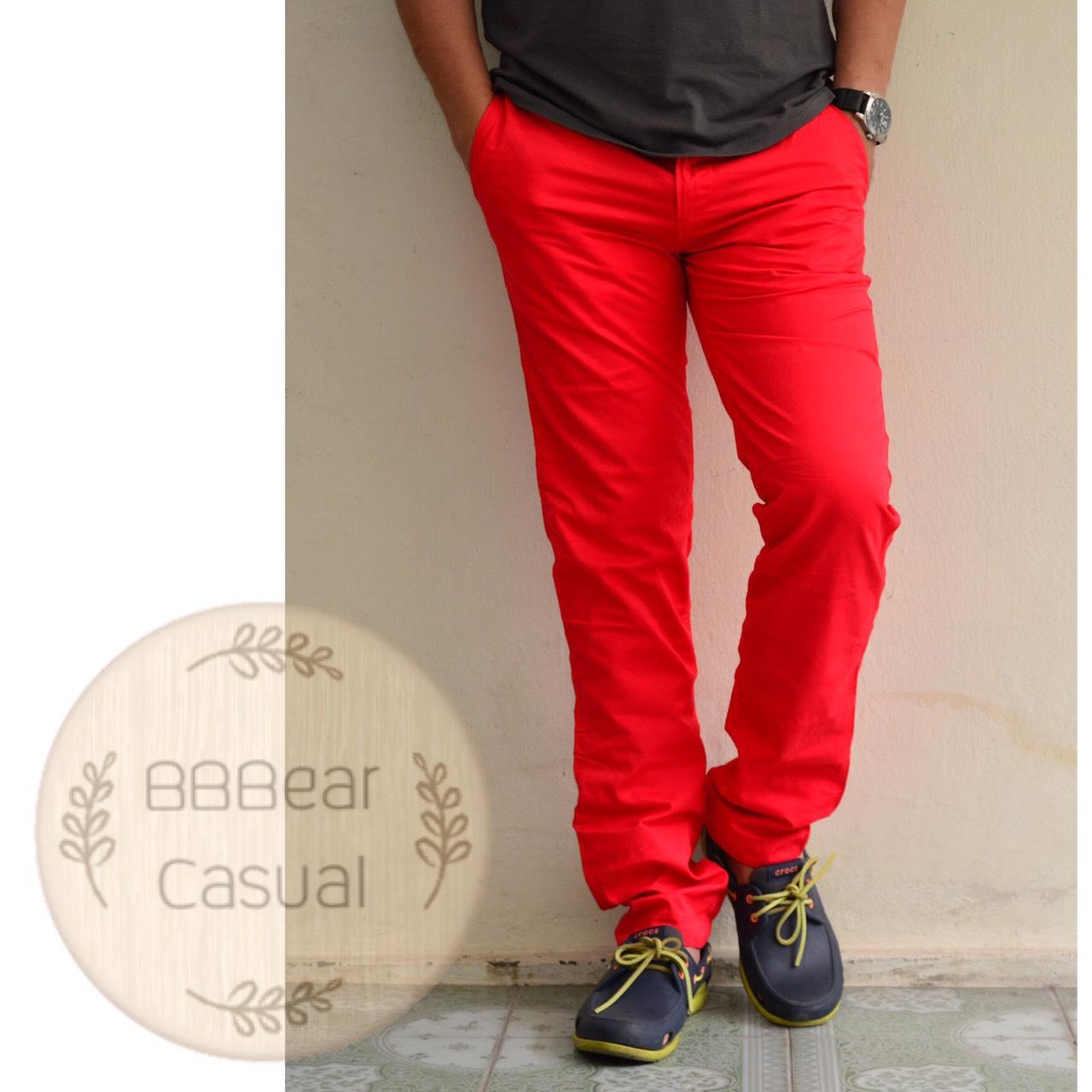 กางเกงขายาว ขากระบอก สีแดง