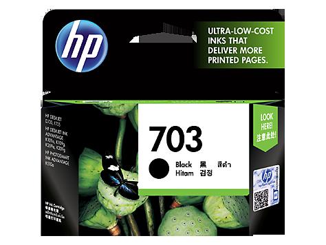 HP 703 ตลับหมึกอิงค์เจ็ท สีดำ Black Original Ink Advantage Cartridge (CD887AA)