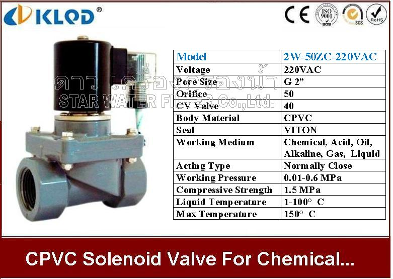 CPVC Solenoid valve ทนความร้อน และ สารเคมี 2 นิ้ว 220VAC KLOD