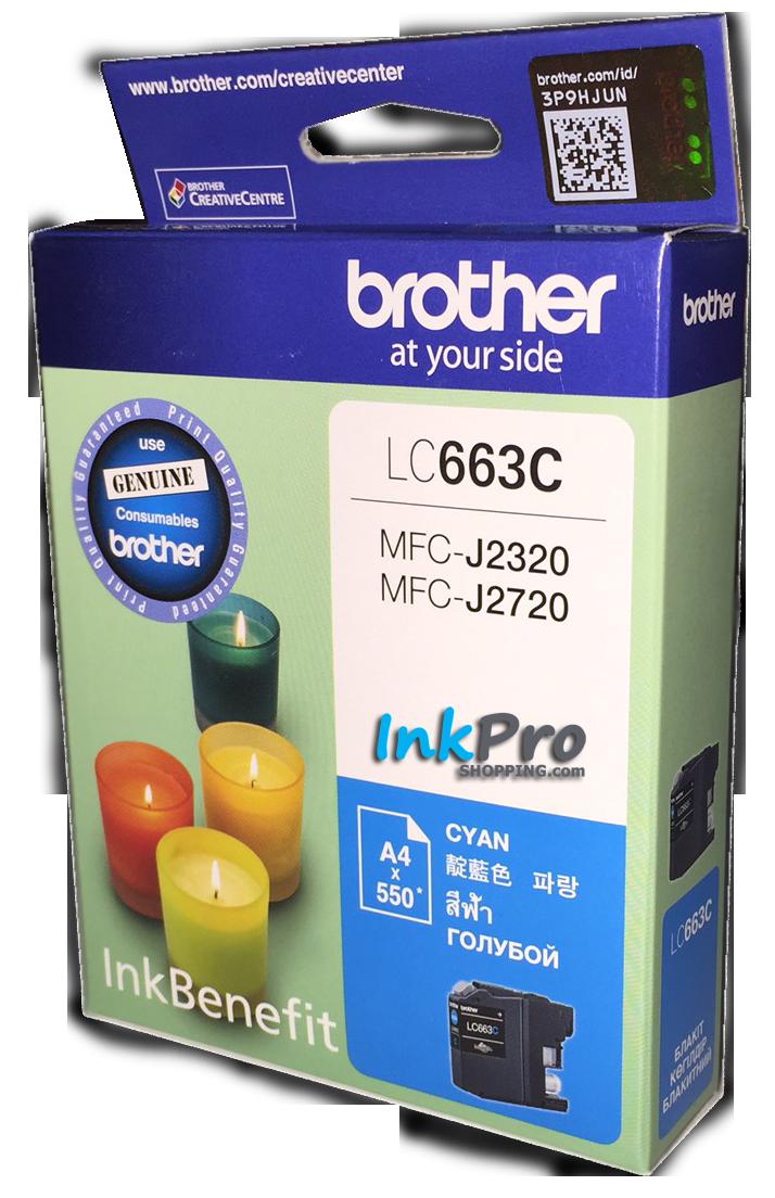 Brother LC-663C ตลับหมึกอิงค์เจ็ท สีฟ้า Cyan Original Ink Cartridge