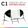 C1 โต๊ะถ่ายภาพสินค้าพับได้ 60x100 ซม.+ SOFTBOX 4040