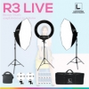 R3 LIVE ชุดไฟสตูดิโอไฟวงแหวน หน้าใส ขาวสวย แบบมีประกายตา ไฟถ่าย live ไฟแต่งหน้า