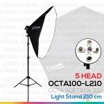 5 HEAD OCTA100 SOFTBOX L210 ขนาด 100 ซม. ชุดไฟแปดเหลี่ยมถ่ายภาพสินค้ากำลังสูง (2016 MODEL)