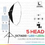 NEW 5 HEAD CLS OCTA100 SOFTBOX L210 ขนาด 100 ซม. ชุดไฟแปดเหลี่ยมถ่ายภาพสินค้ากำลังสูง (NEW 2017 MODEL)