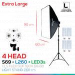 NEW 4 HEAD CLS SOFTBOX 60x90 - L260 ขนาด 60x90 ซม.ชุดไฟถ่ายภาพสินค้ากำลังสูง (NEW 2017 MODEL)