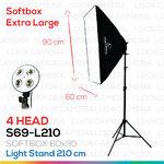 4 HEAD SOFTBOX6090 L210 ขนาด 60x90 ซม.ชุดไฟถ่ายภาพสินค้ากำลังสูง (2016 MODEL)